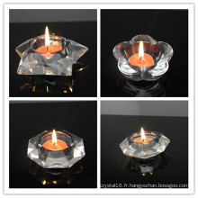 Nouveau design Crystal Tea Light Candle décoration de la maison cristal bougeoir