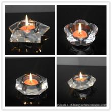 Novo design de cristal chá de luz vela de decoração para casa castiçal de cristal