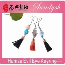 Hamsa Evil Eye Schlüsselanhänger Tassel Evil Eye Schlüsselanhänger Zubehör Beste Schlüsselanhänger