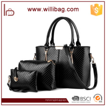 Fabricantes China PU Leather Ladies Tote Bags Handbag Set