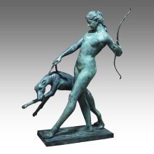 Grande Figure Bronze Jardin Sculpture Chien Fille Décor En Laiton Statue Tpls-025