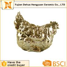 Placage en or Céramique en forme de coq Coin Bank for Home Decoration