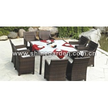 Outdoor Patio Furniture-9 Stück Wicker Dining Set mit Kissen-Clear Glass top