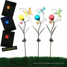3 Asst Solar Lighted Garden Decoration Metal Stake