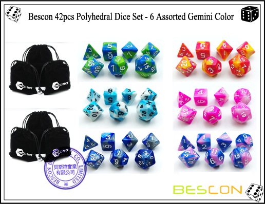 Bescon 42pcs Polyhedral Dice Set