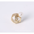 Gold Plated Fashion Jewelry Ring with Pearl and Rhinestone