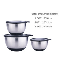 Kitchen silicone salad cake metal mixing bowl set