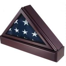Boîte de médaille triangulaire pour drapeau et en bois