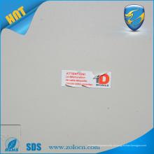 Adesivo de casca de ovo destrutível, adesivo de etiqueta frágil impresso personalizado, etiqueta de destruição de vinil
