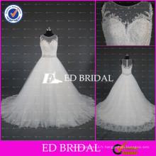 Robe de mariée à encolure en mousseline de soie à encolure intégrée de haute qualité Robes de mariée à manches longues 2017 avec sangle perlée