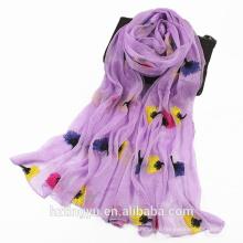 Nueva llegada musulmán artículo fábrica de lujo floral hijab bordado bufanda