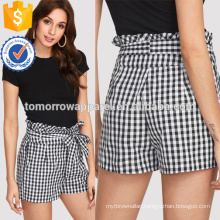 Self Belted Frilled Waist Gingham Shorts Manufacture Wholesale Fashion Women Apparel (TA301B)