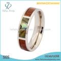 Prata abalone shell titânio jóias jóias anéis, inlay de madeira bandas de casamento anel