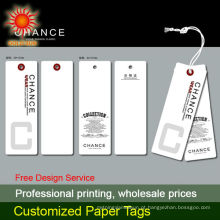 2014 preço de fábrica personalizado forma diferente de papel cartão pendurar tag vestuário pendurar tag