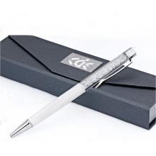 Beau stylo à bille en cristal coloré en métal avec boîte-cadeau