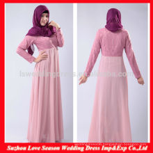 HB0214 New arrival elegant floor length lace bodice baby pink long sleeve cheap long chiffon muslim long dress