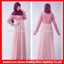 HB0214 Nova chegada, elegante, comprimento do chão, renda, corpete, bebê, rosa, manga longa, barato, longo, chiffon, muslim, longo, vestido