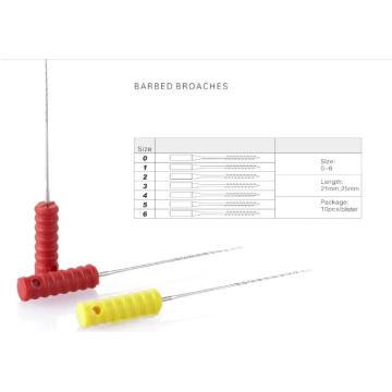 Broches dentais farpados descartáveis com cabo de plástico 21mm 25mm 0-6 #