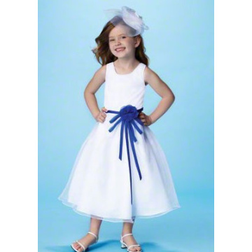 Ball Gown Round Leher Tea-length Satin Tulle Flower Girl Dress