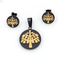 Estilo de moda cool preto e almofada de ouro cortada conjuntos de jóias de noivado venda quente