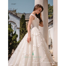 Heavy lace appliqued cinderella bridal dress sexy wedding dress bridal ball gown with cathedral train