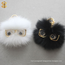 Black And White Funny Fox Fur Ball Pom Pom with Eyes Glasses Fur Keychan Bag Charm