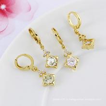 Xuping собственная марка 14k золотого цвета Элегантная серьга моды циркон (22783)