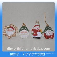 Christmas series ceramic hanging ornament with snowman figurine