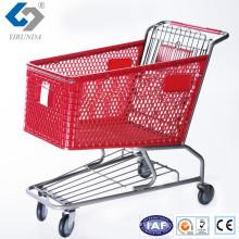Heiße Verkaufs-rote Plastikeinkaufswagen mit Metallrahmen