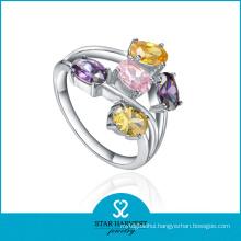 Fashion Multi-Color CZ Silver Costume Jewelry Ring (SH-R0224)