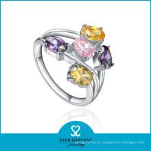 Moda multi-cor cz prata traje jóias anel (sh-r0224)