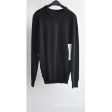 Los hombres de manga larga con cuello en V color puro Jersey de punto suéter