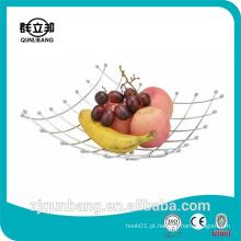 Square Shape Kitchen Metal Wire Fruit Basket / Fruit Holder