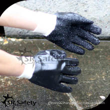 SRSAFETY Black pvc dot palm cotton glove