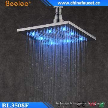 """Nouveau laiton carré carré de salle de bains 10 """"tête de douche de lumière de cascade LED"""