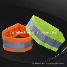 Cheap safety lime green fabric reflective sports wristbands