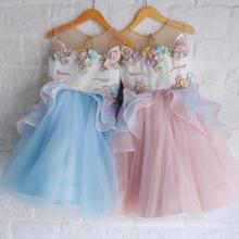 2108 venta caliente hinchada bordado princesa vestido de moda niños fiesta de verano r unicornio vestido de niña al por mayor