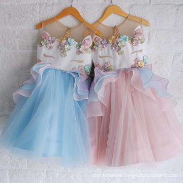 2108 hot sell puffy Embroidery princess dress fashion kids party wear summer r unicorn baby girl dress wholesale