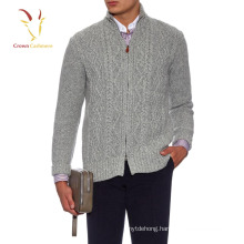 Men Cashmere Wool Turtle Neck Cable Cardigan