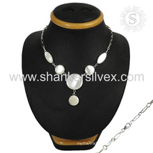 Summer beauty mother of pearl necklace 925 sterling gemstone silver jewelry jaipur wholesaler