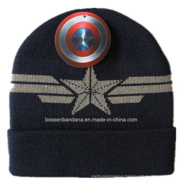 Custom Made Logo Men′s Black Sports Winter Acrylic Knit Jacquard Beanie Cap
