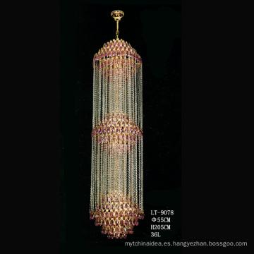 Luces colgantes de cristales modernos de la lámpara de lujo araña de cristal espiral para la escalera casera
