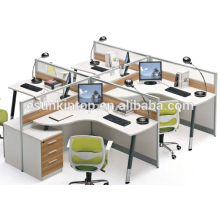 Heat modern T shape working desk white and teak upholstery, Pro office furniture supplier (JO-7002)
