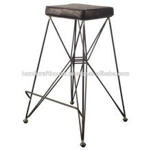 Industrial Vintage Eiffel Base Cushioned Seat Bar Stool