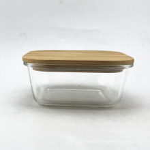 Square Glass Food Container With Bamboo Lid