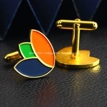 Запонки для мужчин с металлическим позолоченным логотипом на заказ