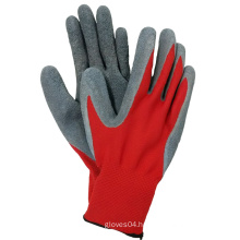 Red Polyester Coated Latex Gloves Safety Hand Work Glove