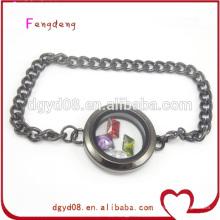 ouvrir le bracelet de médaillon flottant médaillon en acier inoxydable câble