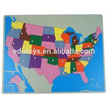 Montessori Geografía nuevo EE.UU. puzzle mapa teaser puzzle de madera