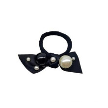 Korean Hair Tie Black White Pearl Bow Knot Elastic Hair Band for Girl Women Ponytail Head Rope Rubber Fashion Accessories